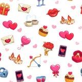 Teste padrão sem emenda do amor para o dia de Valentim Fotos de Stock Royalty Free