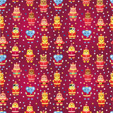 Teste padrão sem emenda do animal de partido do xmas dos desenhos animados Imagem de Stock