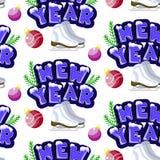 Teste padrão sem emenda do ano novo do vetor Ilustração colorida bonito dos desenhos animados ilustração royalty free