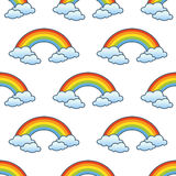 Teste padrão sem emenda do arco-íris & das nuvens ilustração do vetor