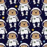 Teste padrão sem emenda do astronauta do urso Imagem de Stock Royalty Free