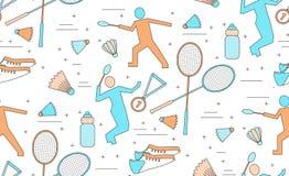 Teste padrão sem emenda do badminton Fotos de Stock Royalty Free