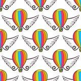 Teste padrão sem emenda do balão do vetor com asas Papel de envolvimento ou decoração brilhante do projeto das crianças ilustração stock