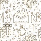 Teste padrão sem emenda do banquete de casamento, linha ilustração lisa Vector ícones da agência do evento, organização - anéis,  Imagem de Stock Royalty Free