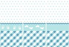 Teste padrão sem emenda do bebé, jogo azul do papel de parede ilustração stock