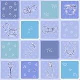 Teste padrão sem emenda do bebê com elementos recém-nascidos bonitos Imagens de Stock Royalty Free