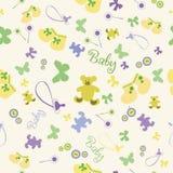 Teste padrão sem emenda do bebê com sapatinhos de lã e urso Fotografia de Stock Royalty Free