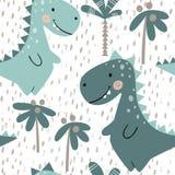 Teste padrão sem emenda do bebê do dinossauro Dino doce com palma Cópia bonito escandinava Fotos de Stock