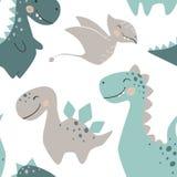 Teste padrão sem emenda do bebê do dinossauro Dino doce com palma e cacto Cópia bonito escandinava Fotos de Stock Royalty Free