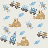 Teste padrão sem emenda do bebê toys2 ilustração stock