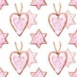 Teste padrão sem emenda do biscoito da estrela da aquarela e do gengibre do coração Foto de Stock