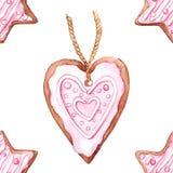 Teste padrão sem emenda do biscoito da estrela da aquarela e do gengibre do coração Imagem de Stock Royalty Free