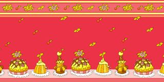 Teste padrão sem emenda do bolo dos desenhos animados Imagem de Stock