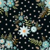 Teste padrão sem emenda do bordado com as flores azuis e brancas bonitas no fundo preto C?pia da forma para a tela e a mat?ria t? ilustração do vetor