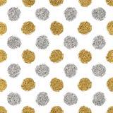 Teste padrão sem emenda do brilho do ouro e dos às bolinhas da prata Fotografia de Stock