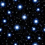Teste padrão sem emenda do céu noturno com estrelas de incandescência Fotos de Stock
