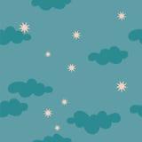 Teste padrão sem emenda do céu noturno estrelado nebuloso Ilustração do Vetor