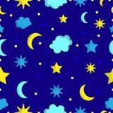 Teste padrão sem emenda do céu noturno no vetor ilustração royalty free