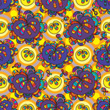 Teste padrão sem emenda do círculo da simetria da gota da flor Fotografia de Stock