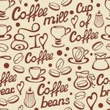 Teste padrão sem emenda do café com copos e rotulação Imagens de Stock