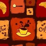 Teste padrão sem emenda do café e do croissant ilustração stock
