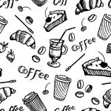 Teste padrão sem emenda do café e do queque Imagens de Stock Royalty Free
