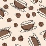 Teste padrão sem emenda do café Fundo tirado mão do café da garatuja ilustração royalty free