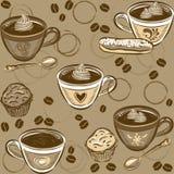 Teste padrão sem emenda do café Ilustração do vetor Foto de Stock Royalty Free