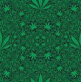 Teste padrão sem emenda do cannabis ilustração do vetor