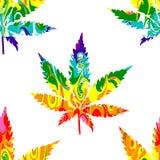 Teste padrão sem emenda do cannabis abstrato Foto de Stock Royalty Free