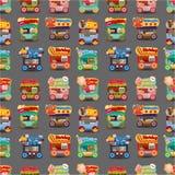 Teste padrão sem emenda do carro da loja do mercado dos desenhos animados Imagem de Stock Royalty Free