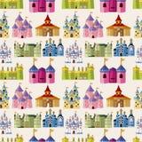 Teste padrão sem emenda do castelo do conto de fadas dos desenhos animados Fotos de Stock Royalty Free
