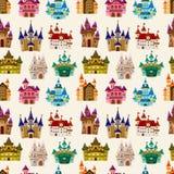 Teste padrão sem emenda do castelo do conto de fadas dos desenhos animados Imagem de Stock Royalty Free