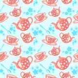 Teste padrão sem emenda do chá da manhã Imagens de Stock
