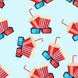 Teste padrão sem emenda do cinema com carretel de filme, válvula, pipoca, gla 3D Imagens de Stock