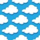 Teste padrão sem emenda do cloudscape dos desenhos animados em ciano Fotografia de Stock Royalty Free