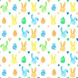 Teste padrão sem emenda do coelho da aquarela Feriados da Páscoa Para o projeto, o cartão, a cópia ou o fundo Fotografia de Stock