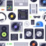 Teste padrão sem emenda do conceito da música feito com ícones Inclui o DJ, a rocha, o clube e elementos audio Vetor Eps10 Imagens de Stock Royalty Free