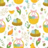 Teste padrão sem emenda do conceito da Páscoa Cesta bonito e ninho da galinha nas flores Teste padrão sem emenda ilustração do vetor