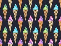 Teste padrão sem emenda do cone de gelado, teste padrão do gelado, tipos do gelo ilustração do vetor