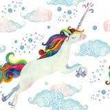Teste padrão sem emenda do conto de fadas da aquarela com unicórnio do voo, as nuvens mágicas e a chuva Imagem de Stock Royalty Free
