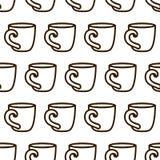 Teste padrão sem emenda do copo de café Teste padrão preto e branco do copo de café do vetor bonito Teste padrão monocromático se ilustração stock
