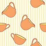 Teste padrão sem emenda do copo de chá em fundo listrado Imagens de Stock