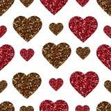 Teste padrão sem emenda do coração do brilho do ouro Símbolo do amor, feriado do dia de são valentim Papel de parede do projeto,  ilustração do vetor