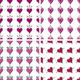 Teste padrão sem emenda do coração do Doodle Fotos de Stock
