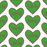 Teste padrão sem emenda do coração verde-claro em um fundo branco Imagem de Stock Royalty Free