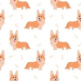 Teste padrão sem emenda do corgi Animal de estimação da casa dos desenhos animados, grupo de cachorrinhos bonitos para a cópia, c ilustração do vetor