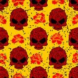 Teste padrão sem emenda do crânio da flor no estilo do grunge Imagens de Stock Royalty Free