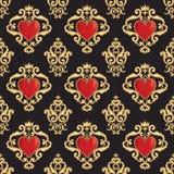 Teste padrão sem emenda do damasco com coração vermelho decorativo bonito s com a coroa no fundo preto Ilustração do vetor ilustração do vetor