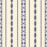 Teste padrão sem emenda do damasco do azul e da nata Fotografia de Stock
